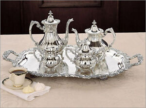 5 PC SILVER TEA SET