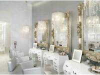 Salon chairs in white - salon furniture beauty mirror table styling
