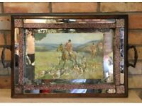 Vintage Crackle Glass Drinks Tray.Hunting Scene. Art Deco Style.Decanter Stand