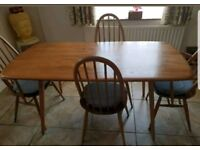 Vintage Ercol Elm Plank Dining Table & Chairs. 2 plus 2 carvers.