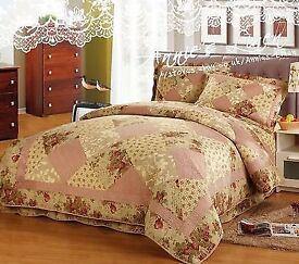 Vintage country chic king size throw bedspread and pillow shams