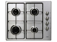 Gas Hob Stainless Steel Automatic Ignition Side Control 4 Burners - LOGIK LGHOBX12 - USED