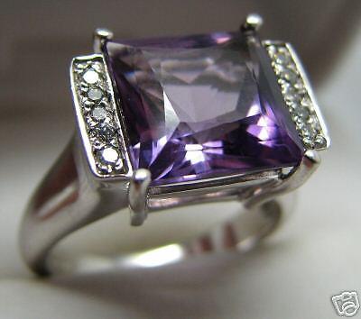 - FINE BRIDGE DESIGN 14K GOLD AMETHYST   DIAMOND RING