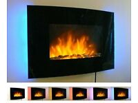 Black Curved Glass Screen Wall Mounted Fire Flame Effect Fireplace