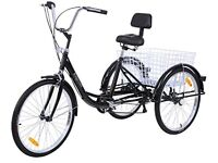 """Brand new boxed adult tricycle 6 speed 24"""" three wheel bike with basket"""