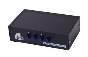 4 Port 4X1 RCA Composite Video Audio Manual Control Selector Switch Switcher Way