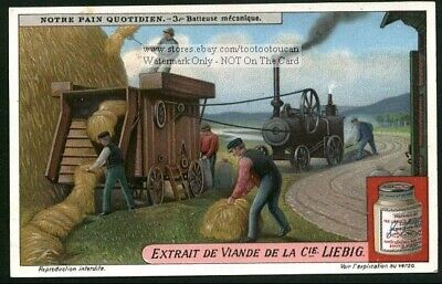 Vintage Steam Tractor Baling Wheat Farm Equipment 1920s Trade Ad Card