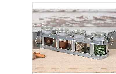 Primitive/Cottage/Country Spice Caddy with Four Glass Jars