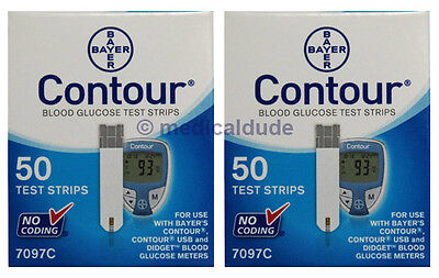 Bayer Contour Blood Glucose 2 Boxes of 50 - 100 Test Strips Exp 1-Year+