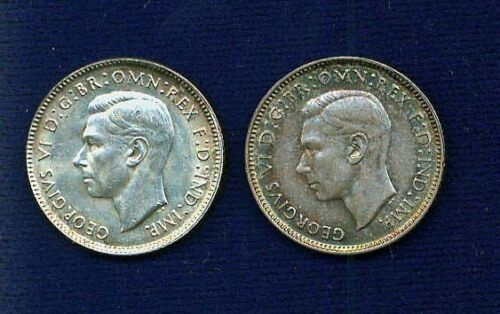 AUSTRALIA GEORGE VI 1942-S,1943-D  6 PENCE SILVER COINS, LOT OF (2)