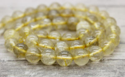Golden Rutilated Quartz Round Bead Natural Transparent Stone Gemstone Beads