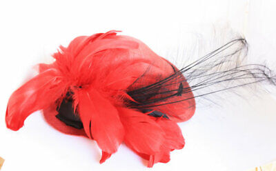 1950s Hats: Pillbox, Fascinator, Wedding, Sun Hats Scarlet Feather Hat Red black feather satin races Vintage Mr Charles USA straw $28.08 AT vintagedancer.com