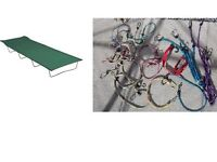 Camp bed (like new), and job lot of bungee ties