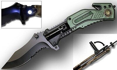 U.S Army Rescue Folding Spring Assist Knife With LED LIGHT NEW ITEM IN BOX  on Rummage