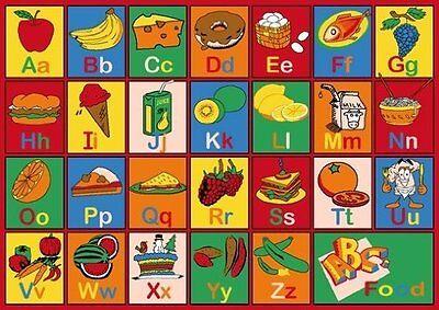 KIDS CHILDREN SCHOOL CLASSROOM ABC FOOD 5' X 7' LARGE EDUCATIONAL GEL RUG