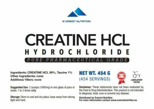 CREATINE HCL HYDROCHLORIDE 100% PURE PHARMACEUTICAL QUALITY POWDER 1