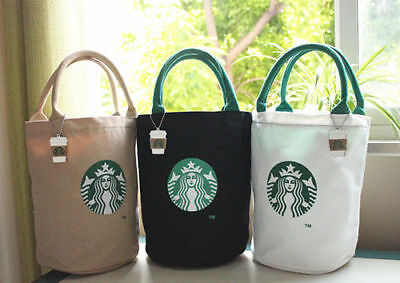 NEW hot Starbucks Canvas Tote Bag White Black Lunch Bag Reusable Washable - White Lunch Bags
