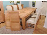 Oak Table + 8 Oak-Leather Chairs
