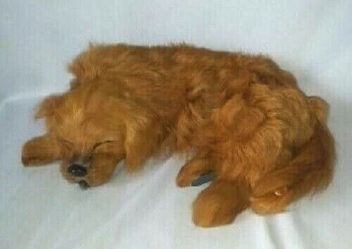 Realistic Lifelike Golden Retriever Dog Figure Puppy Sleeping Goat/Rabbit Fur