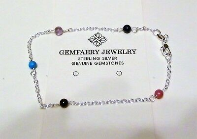 "Sterling Silver ""NAME YOUR STONE"" Gemstone Beaded Link Anklet...Handmade USA"