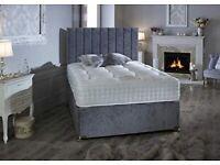 🔴🔴 Beautiful Arizona Divan Complete Beds in Grey Panels Headboard and Mattress 🔴🔴