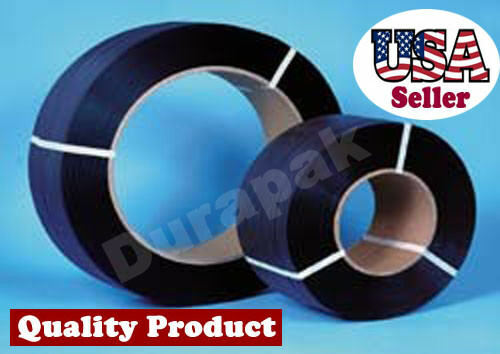"1/2"" 9000 Ft 300 lbs 8x8 Core Hand Poly Strapping Coil Black Packing Binding"
