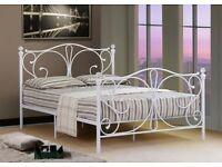 4FT WHITE METAL BED FRAME WITH CRYSTAL FINIALS - NEVER BEEN ASSEMBLED