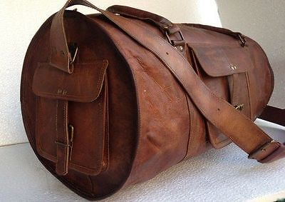 Men's duffel genuine Leather large vintage travel Light weekend overnight bag