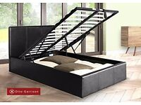**100% GUARANTEED PRICE!*BRAND NEW-Double Leather Bed/Kingsize With Otoman Storage-Same Day Delivery