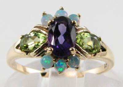 QUALITY 9CT GOLD AMETHYST PERIDOT OPAL ART DECO INS CLUSTER RING FREE RESIZE ()