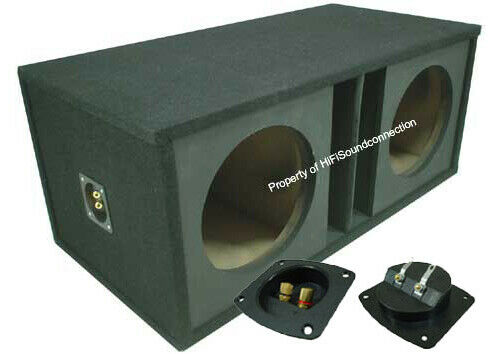 "Car Audio Dual 15"" Slot Vented Paintable Baffle Stereo Sub Box Enclosure"