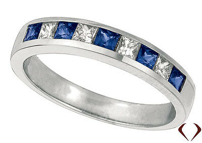 0.58CT Princess Cut Diamond and Sapphire Wedding Band 14k