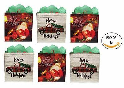 Earthwise Reusable Grocery Gift Bag Totes Assorted Xmas Christmas Holiday ()