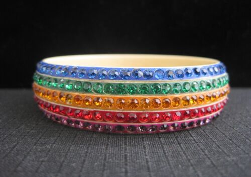 Rare Art Deco Rainbow Rhinestone Celluloid Flapper Bangle Bracelet