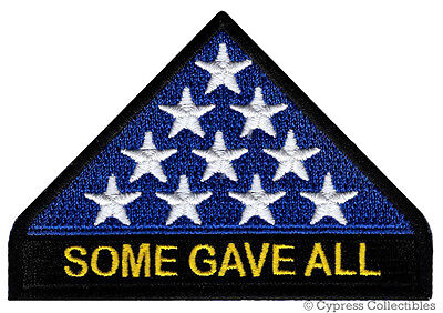 IN MEMORIAM PATCH SOME GAVE ALL iron-on embroidered AMERICAN FLAG VETERAN