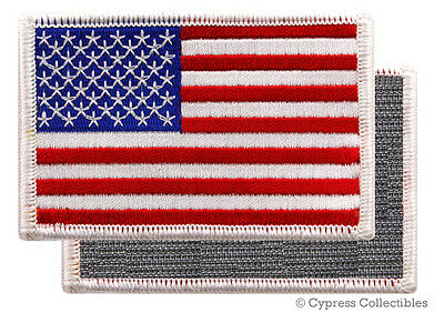 American Flag Embroidered Patch White Border Usa Us W/ Velcro� Brand Fastener
