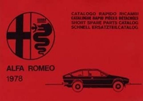Alfa Romeo Alfetta GTV Series 1978 Parts Manual Catalogue paper book car