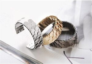 1-x-ladies-bracelet-bangle-fish-scales-jewellery-birthday-gift-gold-silver-new