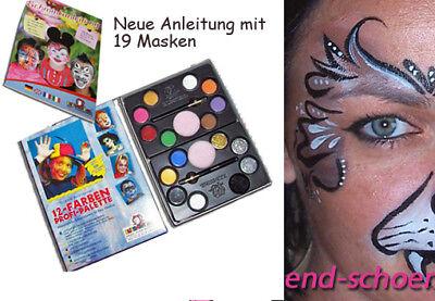 Neu! Halloween Schminkfarbe, Schminke, Kinderschminke, Glitzer, Pinsel, Schwamm