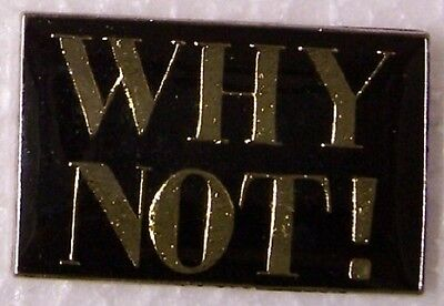 Hat Lapel Pin humorous - don't ask why? - ask WHY NOT ! NEW