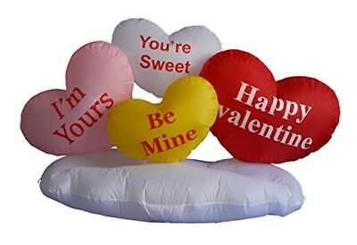 5 Foot Valentine's Inflatable Hearts & Cloud - LED Blow Up Lighted Decor