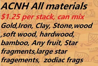 🌟Animal crossing NH  iron,gold,clay,stone,wood,softwood,bamboo,star frags etc🌟