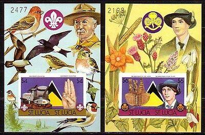 823-824 B. Scout Jahrestag Imperf S / Blätter. Vögel (St Lucia Tag)