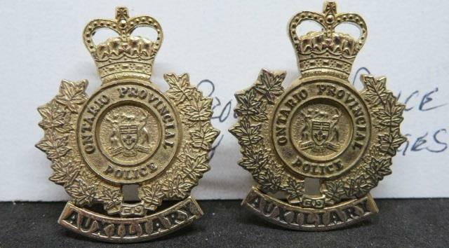 OBSOLETE Ontario Provincial Police Auxiliary Post-WWII 2 Brass Collar Badges