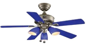 Hampton Bay Blue Ceiling Fan and Matching track light