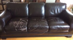 Leather Sofa....needs some TLC