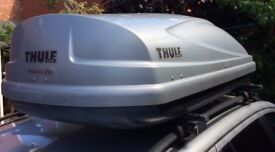 Thule Atlantis 200 Silver Roof Box with Roof Bars and Mercedes C-Class Foot Pack