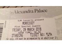 1x Morrissey ticket, Alexandra Palace, Friday March 9th, £55