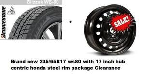 2011 to 2019 honda odyssey winter tire n rim package 235/65R17 with 17 hub centric steel 5x120