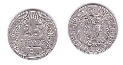25 Pfennig Nickel Münze Deutsches Reich 1912 D  (119607)